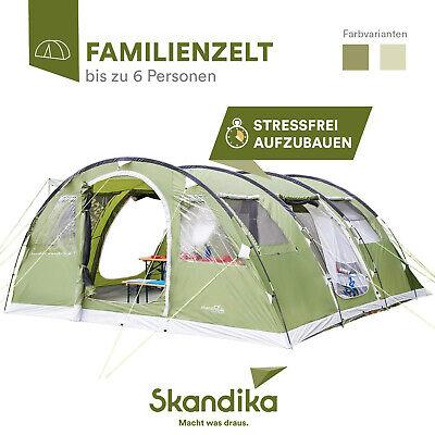 skandika Gotland 6 Personen Gruppen-Zelt Familienzelt Tunnel 2 Kabinen grün neu