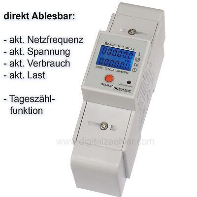 B+G e-tech - LCD Wechselstromzähler Stromzähler S0 LCD 5(50)A - DRS255BC