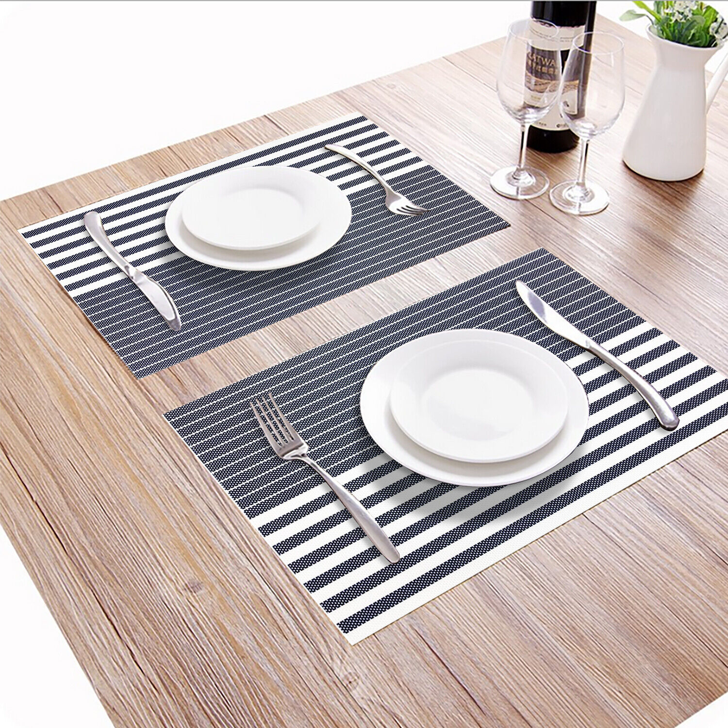 Placemats PVC Set of 6 Heat Resistant Washable DiningTable Mat Woven Blue Stripe
