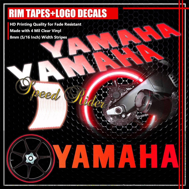 Red reflective rim tape bike wheel stripe 8 yamaha logo letter decal 16 17 18