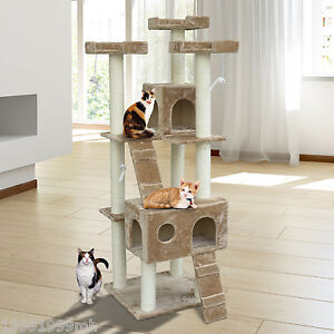 PawHut-6FT-Cat-Tree-Scratchers-Pet-Furniture-Cat-House-Condo-Post-Toys-Scratch