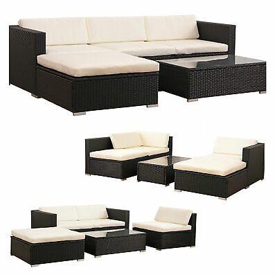 Garden Furniture - 5 PCS Patio Furniture Set Rattan Wicker Table Shelf Garden Sofa W/ Cushion Brown