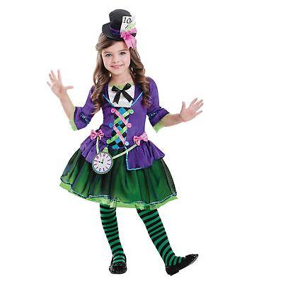 Bad Mad Hatter Costume (Kids Girls Bad Mad Hatter Wonderland Alice Fairytale Fancy Dress Costume)