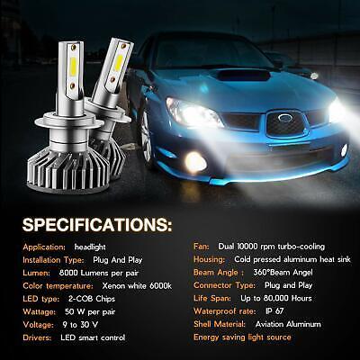 H7 LED Headlight Bulbs Hi/Low Beam 6000K 60W 7600LM White Light Conversion Kit