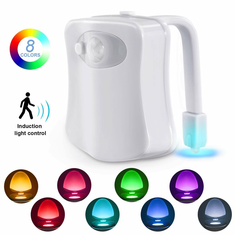 Bowl Bathroom Toilet Night LED 8 Color Lamp Sensor Lights Mo