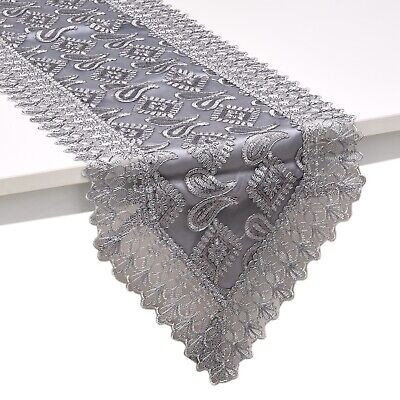 Gray Silver Paisley Pattern Polyester Lace Decoration Dinning Table Runner