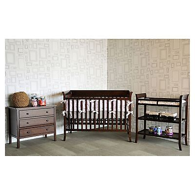 Baby 3-Piece Nursery Set - Crib, Changer, Dresser, Bedding, Furniture, Espresso