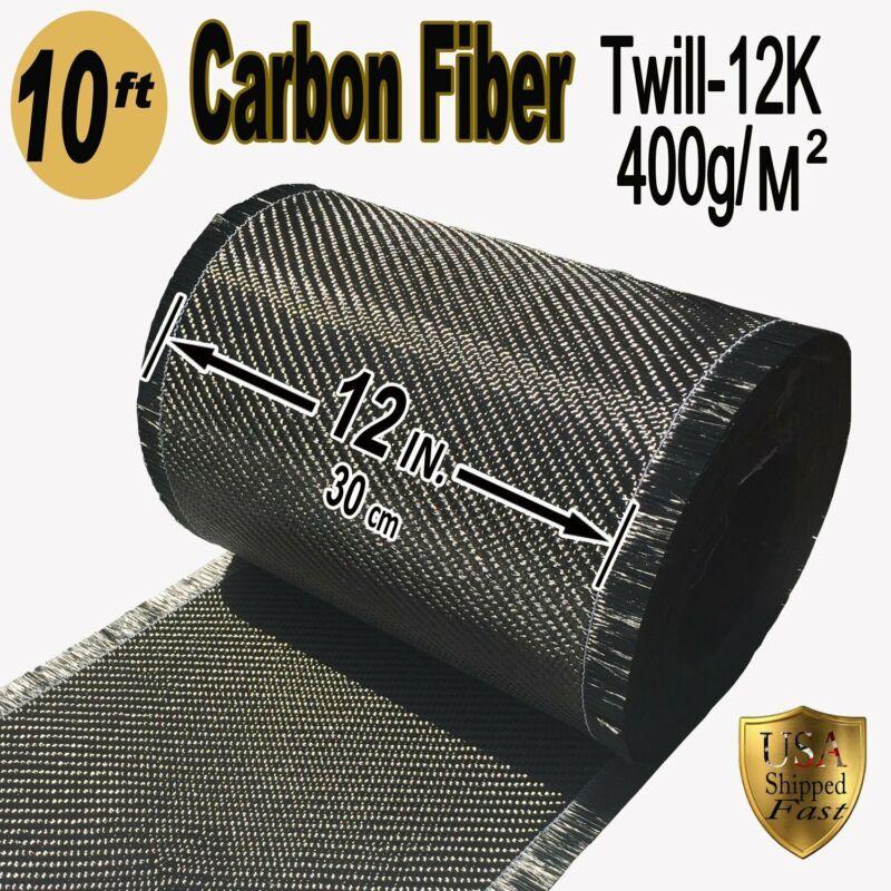 """10 FT x 12"""" - CARBON FIBER FABRIC-2x2 TWILL WEAVE-12K/400g"""