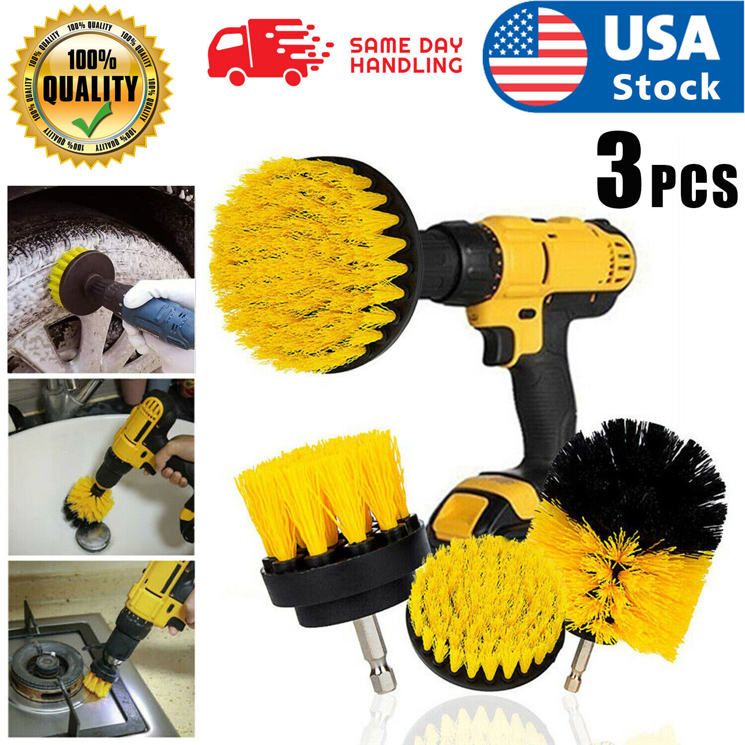 3pcs Electric Drill Brush Power Scrubber Round Cleaning Brush Carpet Glass Car Cleaning Products