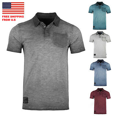 ZIMEGO Mens Short Sleeve Oil Wash Vintage Button Henley Pocket Polo T-Shirt