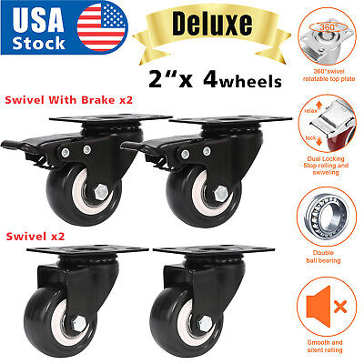 Usa Set Of 4 Swivel Plate Casters 2 Polyurethane Wheels 2 With Total Lock Brake