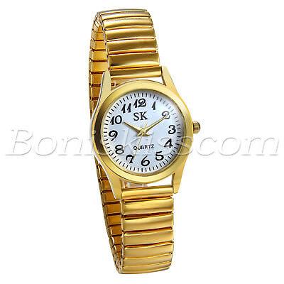 Women's Gold Tone Elastic Stainless Steel Ultra Thin Quartz Dress Wrist Watch