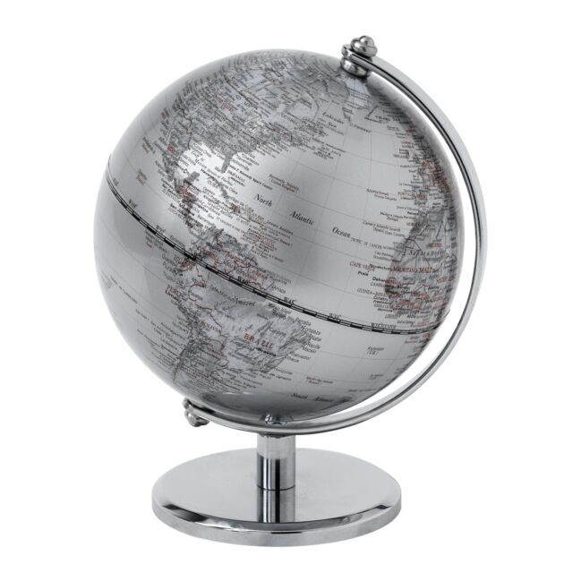 The Globe Collection A25982 Silver Globe 13cm