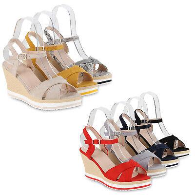 Damen Plateau Sandaletten Keilabsatz High Heels Wedges 826205 Schuhe High Heel Damen Wedge Heels