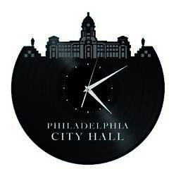 Philadelphia City Hall Vinyl Wall Clock City Skyline Vintage Room Decoration