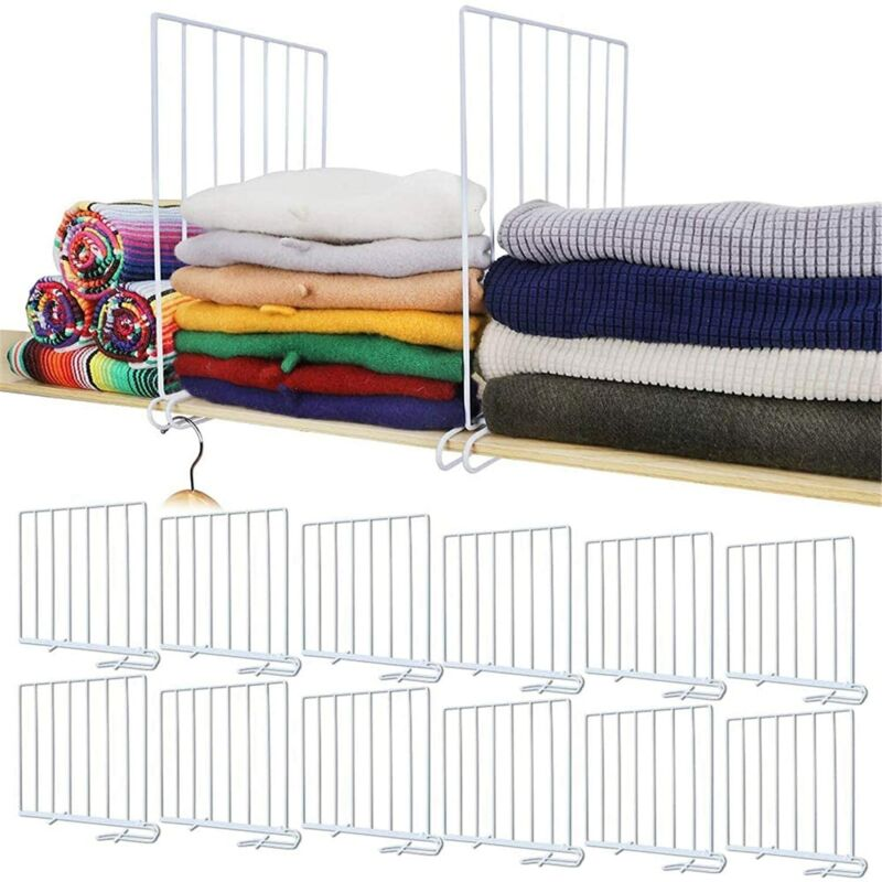 12Pcs/Set Closet Shelf Dividers Metal Organizers White Separators for Wardrobe