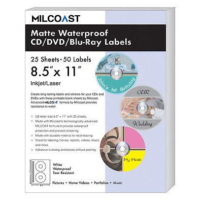 Milcoast Matte Waterproof Diy Adhesive Cd Dvd Blu-ray Labels 25 Sheets