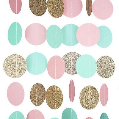 Pink Mint and Gold Glitter Circle Polka Dots Paper Garland Banner 10 FT Banner - Pink And Gold Polka Dots