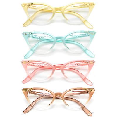 Cat Eye Retro Eyeglasses Stone Color Frame Clear Lens Women Fashion (Cat Eye Color)