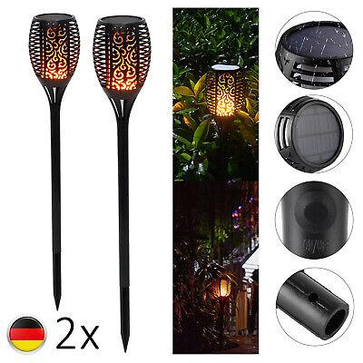 2 Pack 96LED Flackernde Landschaft Lampe Tanzen Flamme Solar Fackel Garten Licht