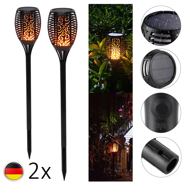 2 Pack 96LED Solar Fackel Flackernde Landschaft Lampe Tanzen Flamme Garten Licht