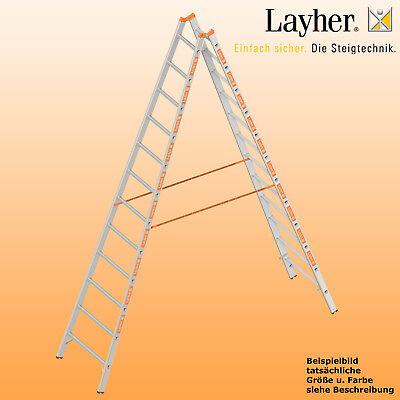 Layher Alu Sprossenstehleiter, 2x12 Spr., L=3,50m, Bockleiter Topic Typ 1039.012