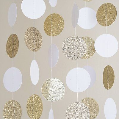 White and Gold Glitter Circle Dots Paper Garland 10 Ft Party Home Decoration