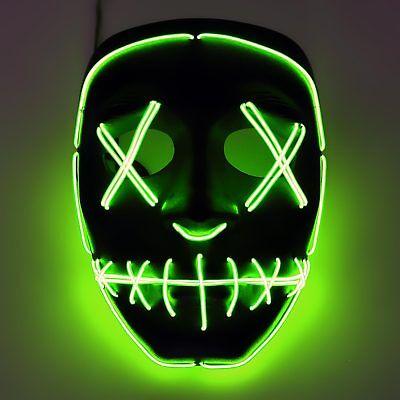 Fasching LED Maske grün Helloween Faschingsmaske Karneval Kostüm Outfit rave