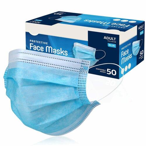 50 /100 PCS Black Face Mask Mouth Nose Protector Respirator Masks US Seller Blue
