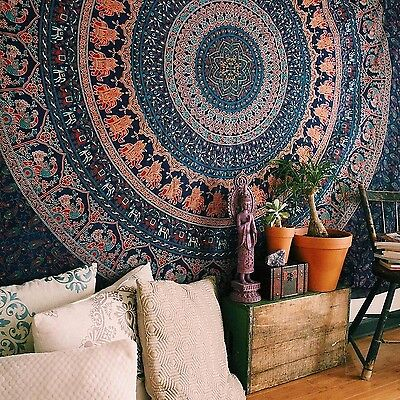 Tapestry Bohemian Twin Size Throw Mandala Indian Dorm Decor Ethnic Bedspread Art