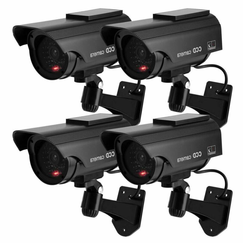 Set of 4 Solar Dummy Fake Cameras Powered Warning Emulation Security w/LED Light
