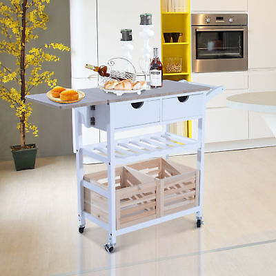 Folding Drop Leaf Kitchen Island Trolley Cart Storage Drawers Baskets Rolling