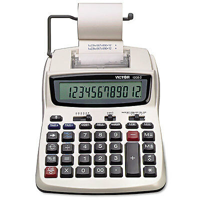 Victor 1208-2 Two-Color Compact Printing Calculator Black/Red Print 2.3 Lines