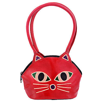 India Handmade Real Leather Cat Face Shantiniketan Red Kids Purse Painted Tooled