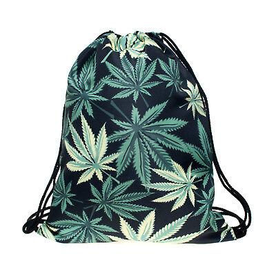 Green Cannabis Leaf Non-woven Drawstring Bag Backpack Adult Sport Tote Bag Non Woven Drawstring Bag