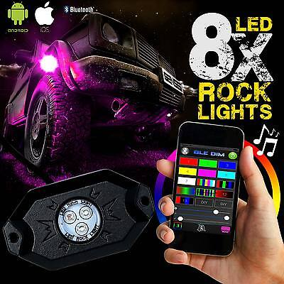 8 LED Rock Lights Aluminum Wireless w/Bluetooth Music RGB Color Accent Under Car