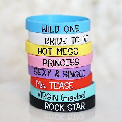 Set of 8 Wedding Girls Night Out Bachelorette Party Bracelets Bachelorette Favor - Girls Night Out Favors