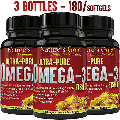 Ultra Pure Omega 3 Fish Oil Epa  Dha   Maximum Strength  Burpless  Non Gmo