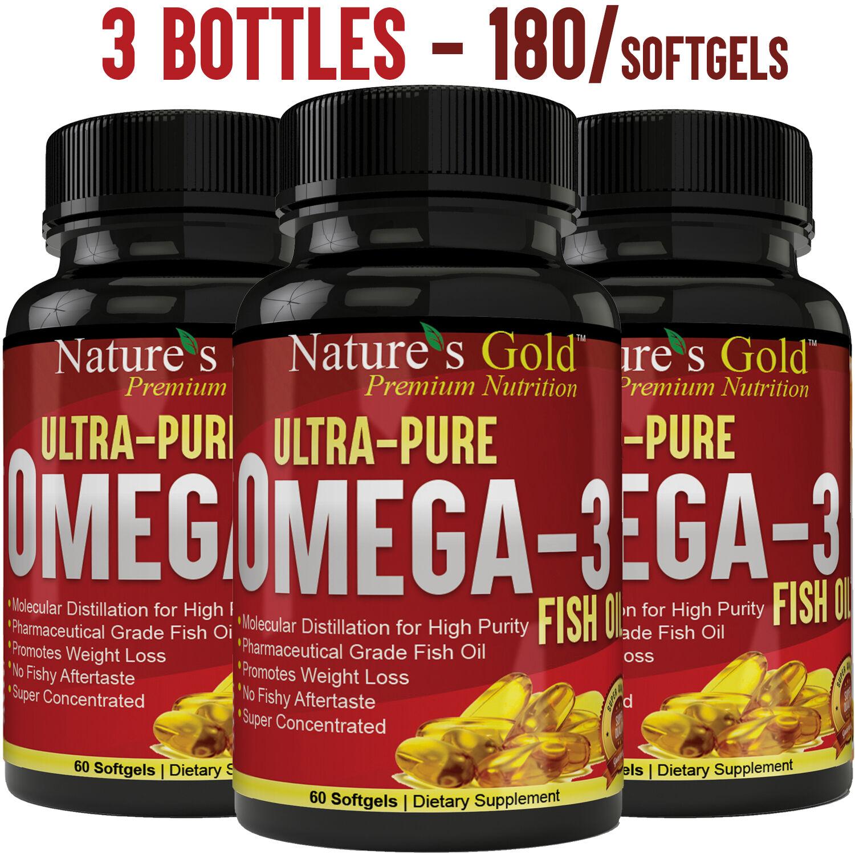 Ultra-Pure Omega 3 Fish Oil EPA, DHA - Maximum Strength,