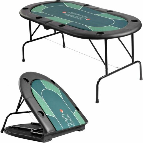 "VILOBOS 71"" Folding Poker Table 8 Player Casino Texas Holdem Card Game Blackjack"
