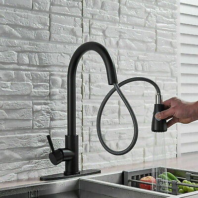 Luxury Kitchen Sink Faucet Stainless Steel Single Handle Pull Out Sprayer +Cover