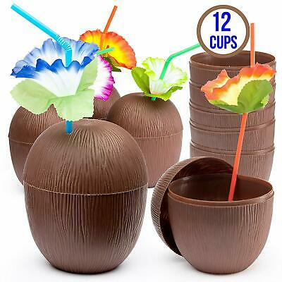 Prextex 12 Pack Coconut Cups for Hawaiian Luau Kids Party with Hibiscus Flower S - Cups For Parties