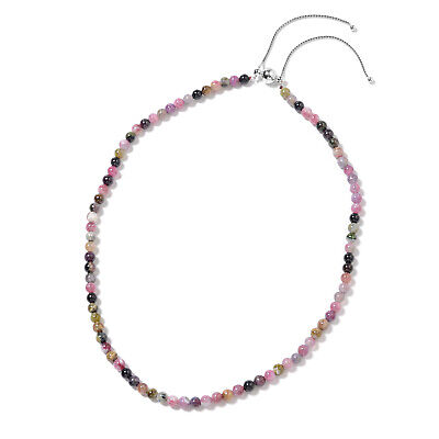 """925 Sterling Silver  Multi-Tourmaline Beads Necklace Gift Size 18"""" Ct 91.5"""