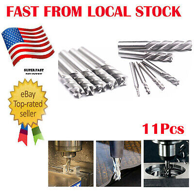 "6pc HSS CNC 4 Flute Spiral Bit End Mill Cutter 1//8 3//16 1//4 5//16 5//8 1//2/""  in US"