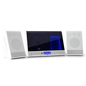 Stylische Stereoanlage in weiss mit MP3 CD Player, UKW Radio, Wandmontage,USB SD