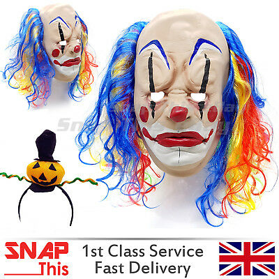 Clown Mask Hair Red IT Cosplay Latex Face Horror Adult Halloween Party Killer UK - Halloween Latex Mask Uk