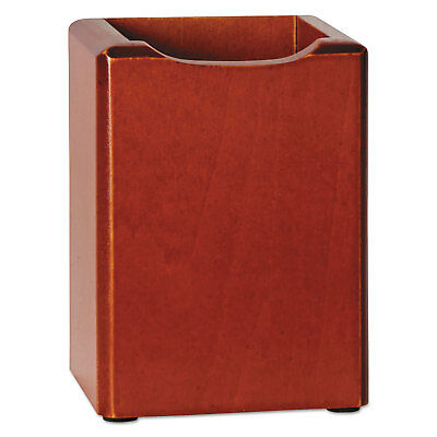Rolodex Wood Tones Pencil Cup Mahogany 3 18 X 3 18 X 4 12 23380