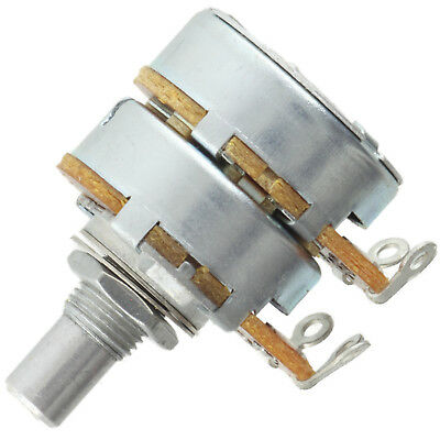 Alpha Dual 8mm Bushing Potentiometer 250k Linear 14 Solid Shaft Solder Tabs