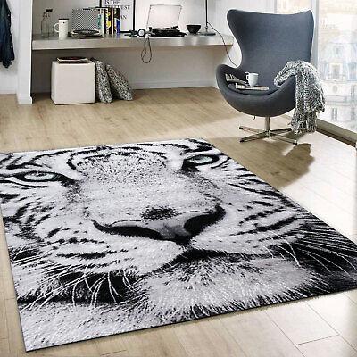 Designer Teppich Schnee Tiger Katze Weiß Wild Grüne Augen
