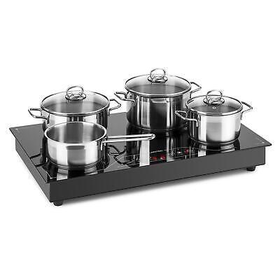 Placa Inducción 3500W Vitrocerámica Touch Cocina Electrica Potente Negra 4 zonas
